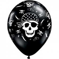 Ballons Qualatex 28 cm - Pirates skulls Noir - par 25
