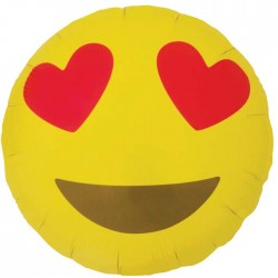 Ballon Mylar Emoji Heart Eyes - 46 cm