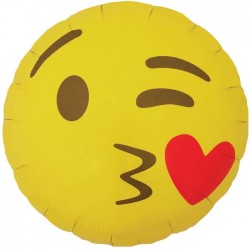 Ballon Mylar Emoji Kissing Heart - 46 cm