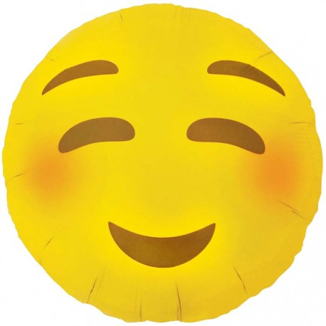 Ballon Mylar Emoji Blushing - Smiley Rougissant - 46 cm
