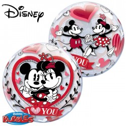 Ballon Bubble Mickey & Minnie I Love You - 56 cm