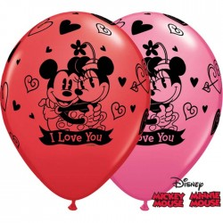 "Ballons Mickey & Minnie ""I Love You"" Rouge & Rose (par 25)"