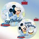 Ballon Bubble Mickey Mouse 1er Anniversaire - 56 cm