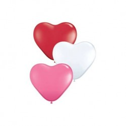 Lot de 3 ballons COEUR - 40 cm (1 Blanc / 1 Rose / 1 Rouge)
