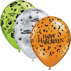 Ballons Happy Halloween Orange Transparent & Lime - Assortiment (par 25)