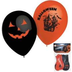 "Ballons Halloween ""Chateau Hanté"" Orange & Noir (par 10)"