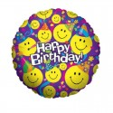 "Ballon Mylar Emoji Anniversaire ""Smiley Party"" - 91 cm"