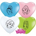 Ballons Coeur - Visages Princesses Disney (par 100)
