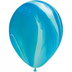 Ballons Qualatex 28 cm - Blue Rainbow SuperAgate - par 25