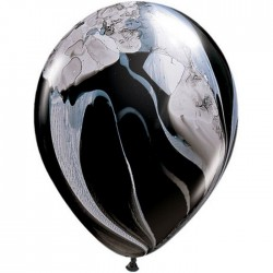 Ballons Qualatex 28 cm - Black and White Rainbow SuperAgate - par 25